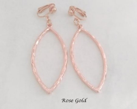 Clip-on Earrings, Rose Gold, Long Drop | by Dazzlers
