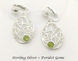 Sterling Silver Clip On Earrings with Peridot Gems | Dazzlers