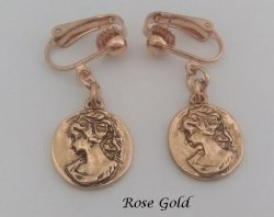 Vintage Style Cameo Clip On Earrings in Rose Gold Finish