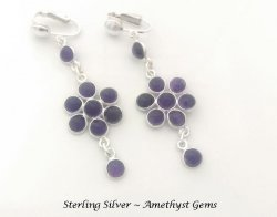 Sterling Silver Clip On Chandelier Earrings, Amethyst Gems