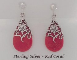 Sterling Silver Clip-on Earrings with Red Coral