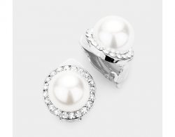 Clip On Pearl Earrings Silver with Dazzling Clear Crystals