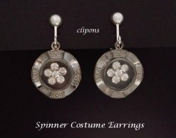 Clip On Earrings, Silver with Spinning Crystals, by Dazzlers