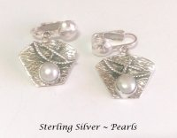 Sterling Silver Clip-on Earrings with Cultured Pearl
