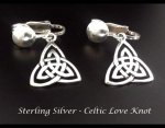 Petite Sterling Silver Clip On Earrings with Celtic Love Knot
