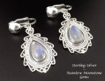 Clip On Earrings, Moonstone, Silver, Unique Artisan Design