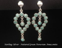 Clip On Earrings, Chandelier, Peruvian Amazonite Gems, Silver
