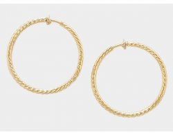 Gold Clip On Hoop Earrings Beautiful Textured Finish
