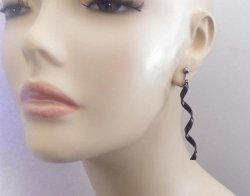 Black Corkscrew Twist Style Fashion Clip On Earrings