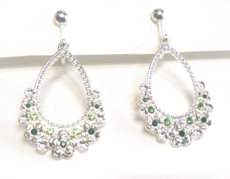 Silver Clip On Dangle Earrings with Faux Peridot Crystals