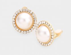Fabulous Pearl Clip On Earrings Gold with Dazzling Crystal Pave