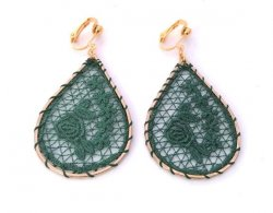 Embroidered Clip On Fashion Earrings Forest Green Colour