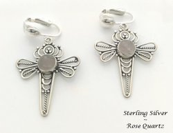 Dragonfly Clip On Earrings, Rose Quartz Gems, Sterling Silver