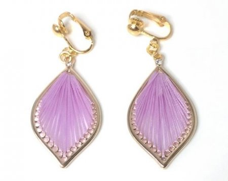 Clip On Drop Earrings Lavender Harp Style by Dazzlers