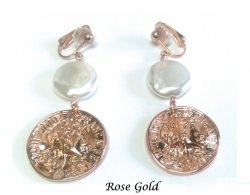 Rose Gold Clip On Earrings with Faux Mother of Pearl
