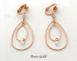 Double Teardrop Rose Gold Clip On Earrings with Crystals