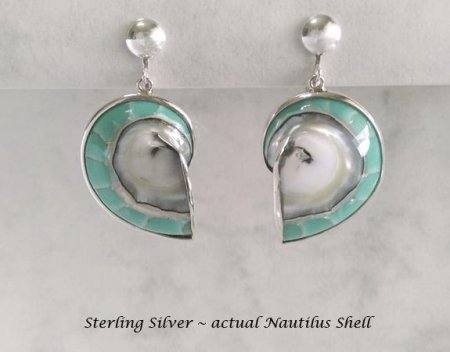 Clip On Earrings, Sterling Silver, Natural Nautilus Shell, Aqua