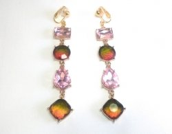Dangle Clip On Earrings Long Drop with Dazzling Crystals