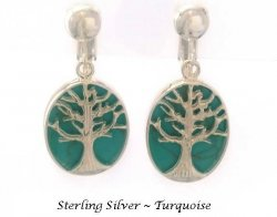 Sterling Silver Clip On Earrings, Turquoise, Tree of Life