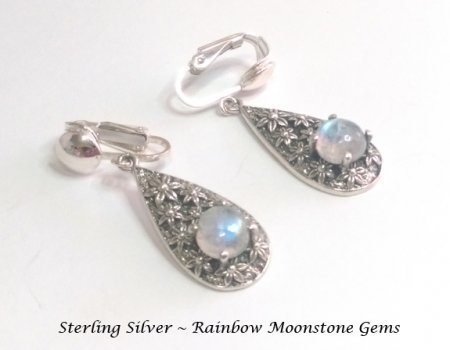 Sterling Silver Clip Earrings with Rainbow Moonstone Gemstones