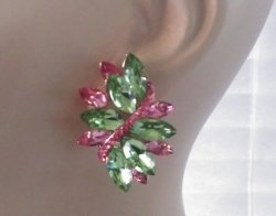 Spectacular Marquis Crystal Clip On Earrings Pink & Green