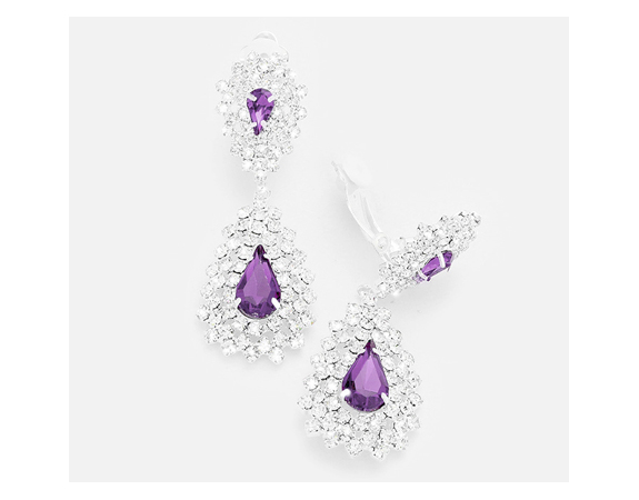 Long Drop Dazzling Clip On Earrings Purple and Clear Crystals - Click Image to Close