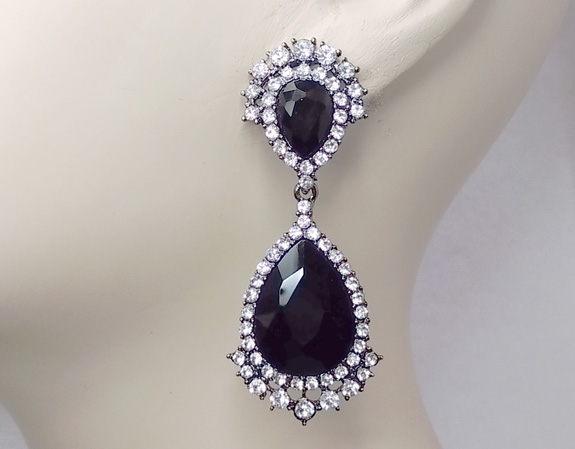 Large Crystal Clip On Dangle Earrings, Black and Clear Crystals - Click Image to Close