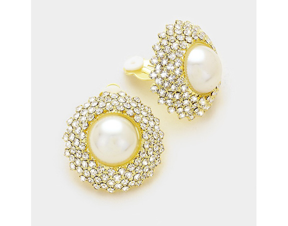 Large Glamorous Pearl Clip On Earrings with Dazzling Crystals - Click Image to Close