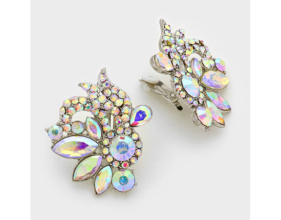 Dazzling Clear Crystal Clip On Earrings, AB Coated Crystals - Click Image to Close
