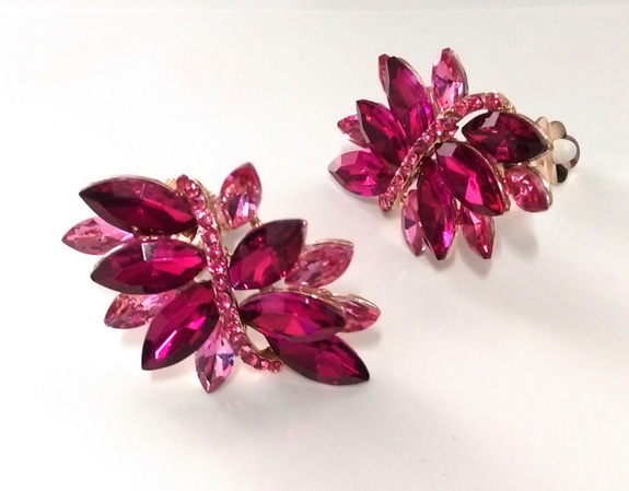 Fabulous Fuchsia Crystal Statement Earrings with Pave - Click Image to Close