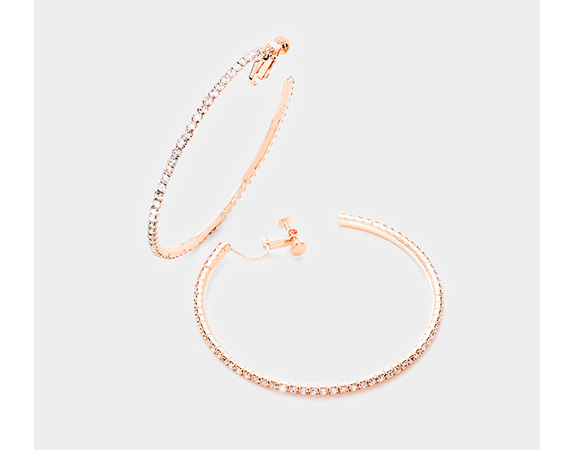 Classy Rose Gold Clip On Hoop Earrings with Dazzling Crystals - Click Image to Close