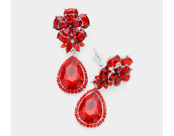 Dazzlers Clip On Earrings - Dangle Crystal Clip On Earrings, Vivid Red | Drop Earrings