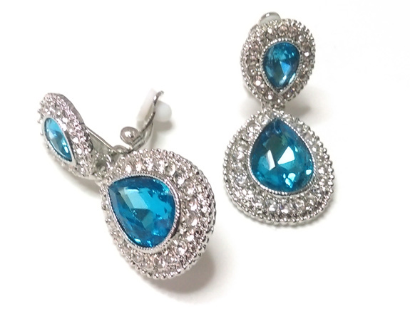 Gorgeous Aqua Crystal Clip On Earrings with Crystal Pave - Click Image to Close