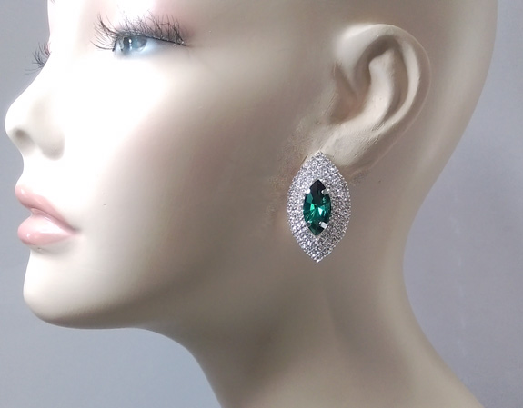 Stunning Marquis Crystal Clip On Earrings, Green and Clear - Click Image to Close
