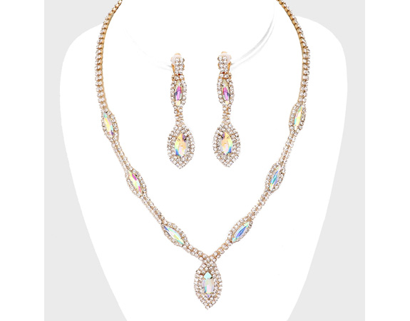 Set, Crystal Clip On Earrings & Necklace, Evening, Bridal - Click Image to Close