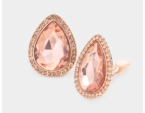 Rose Gold Clip On Earrings with Peach and Clear Crystals - Click Image to Close