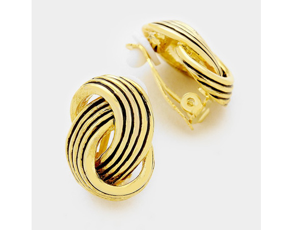 Twisted Knot Clip On Earrings, Gold with Black Highlight - Click Image to Close