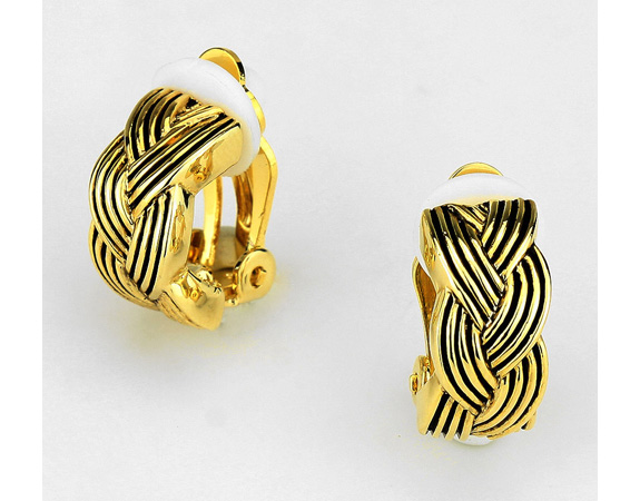 Petite Braided Shell Clip On Earrings, Gold with Black Trim - Click Image to Close