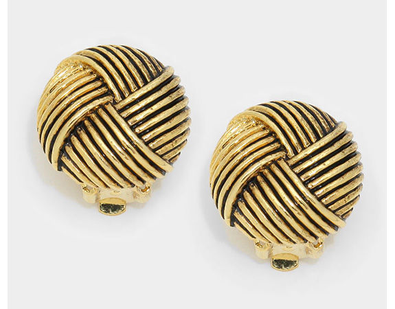 Antique Style Gold Clip On Earrings, Round Knots Design - Click Image to Close