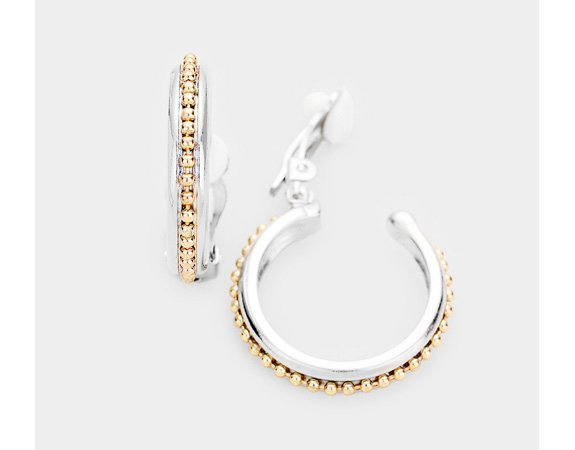 Elegant Open Hoop Clip On Earrings, Silver and Gold | Dazzlers - Click Image to Close
