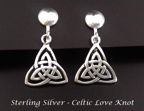 Petite Sterling Silver Clip On Earrings with Celtic Love Knot - Click Image to Close