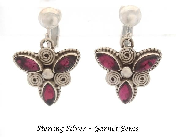 Clip On Earrings, Sterling Silver, Garnet Gemstones, Unique - Click Image to Close