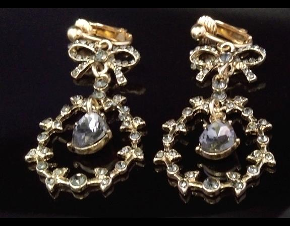 Fashion Clip On Earrings, Retro, Gold Plated with Grey Crystals - Click Image to Close