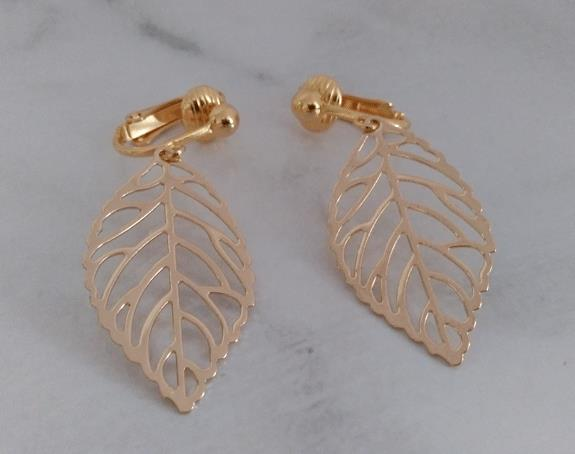 Gold Clip On Earrings, Leaf Design, Fashion Clipon Earrings - Click Image to Close