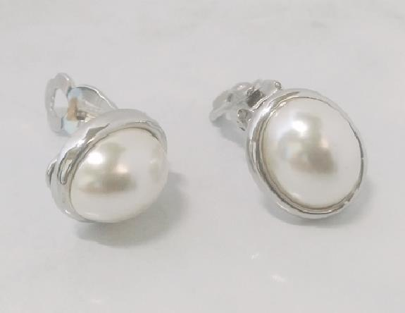 Pearl Clip On Earrings, Silver, Faux Pearls, Classic by Dazzlers - Click Image to Close