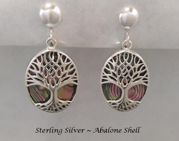 Clip On Earrings with Abalone Shell in Sterling Silver - Click Image to Close