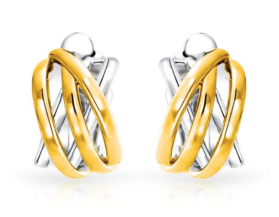Clip On Earrings Half Hoop Combination of Gold and Silver - Click Image to Close