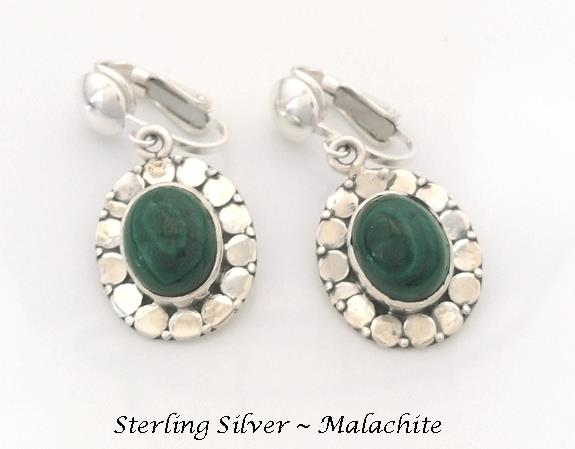 Classic Clip On Earrings, Sterling Silver with Malachite Gems - Click Image to Close