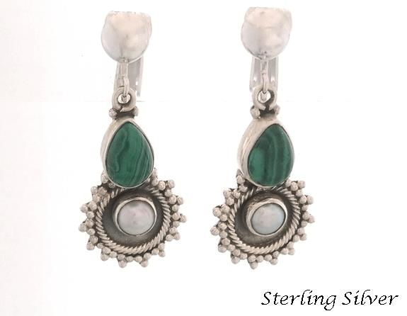 Clip On Pearl Earrings with Malachite Gems, Sterling Silver - Click Image to Close