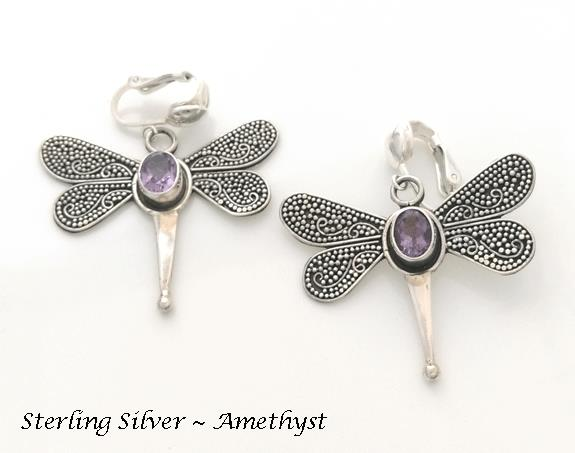Dragonfly Clip-on Earrings with Amethyst Gemstones, Dazzlers - Click Image to Close